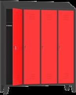 00150423 Szafa ubraniowa na nogach i daszek, 4 segmenty, 4 drzwi (wymiary: 2050x1590x480 mm)