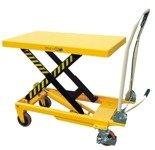 00546098 Wózek paletowy stołowy (udźwig: 500 kg, min./max. wysokość podestu: 285/880 mm, wymiary platformy: 850x500 mm)