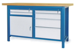 00853636 Stół warsztatowy, 1 drzwi, 6 szuflad (wymiary: 1500x900x740 mm)