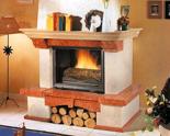 03356613 Obudowa z marmuru patynowanego z belką dębową Bergamo do wkładów żeliwnych panoramicznych