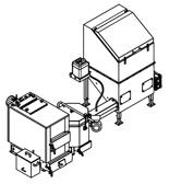 06653040 Automatyczny zestaw do spalania biomasy 0,6m3 230V 30kW, głowica: ceramiczna, z systemem usuwania popiołu (paliwo: trociny, wióry, zrębki)