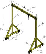 15562100 Suwnica bramowa z wózkiem i wciągarką (udźwig: 1500 kg, wysokość: 3869mm, szerokość: 4000mm, wysokość podnoszenia: 3000mm)