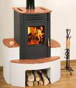 23055320 Piec wolnostojący 10kW na drewno i węgiel (postawa betonowa i granit)