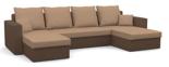 25460944 Narożnik z funkcją spania i poduszkami, pianka (wymiary: 305x140 cm)