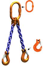 33948217 Zawiesie łańcuchowe dwucięgnowe klasy 10 miproSling HCS 26,5/19,0 (długość łańcucha: 1m, udźwig: 19-26,5 T, średnica łańcucha: 22 mm, wymiary ogniwa: 340x180 mm)