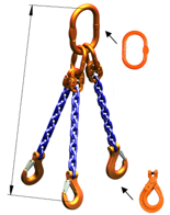 33948226 Zawiesie łańcuchowe trzycięgnowe klasy 10 miproSling LCS 14,0/10,0 (długość łańcucha: 1m, udźwig: 10-14 T, średnica łańcucha: 13 mm, wymiary ogniwa: 200x110 mm)