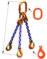 33948274 Zawiesie łańcuchowe trzycięgnowe klasy 10 miproSling KLHW 14,0/10,0 (długość łańcucha: 1m, udźwig: 10-14 T, średnica łańcucha: 13 mm, wymiary ogniwa: 200x110 mm)