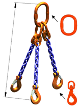 33948281 Zawiesie łańcuchowe trzycięgnowe klasy 10 miproSling WLHW 2,0/1,5 (długość łańcucha: 1m, udźwig: 1,5-2 T, średnica łańcucha: 5 mm, wymiary ogniwa: 110x60 mm)