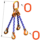 33948294 Zawiesie łańcuchowe czterocięgnowe klasy 10 miproSling A8W 14,0/10,0 (długość łańcucha: 1m, udźwig: 10-14 T, średnica łańcucha: 13 mm, wymiary ogniwa: 200x110 mm)