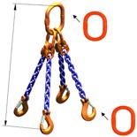 33948297 Zawiesie łańcuchowe czterocięgnowe klasy 10 miproSling A8W 40,0/28,0 (długość łańcucha: 1m, udźwig: 28-40 T, średnica łańcucha: 22 mm, wymiary ogniwa: 350x190 mm)
