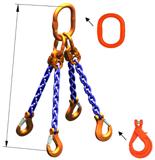 33948299 Zawiesie łańcuchowe czterocięgnowe klasy 10 miproSling KLHW 14,0/10,0 (długość łańcucha: 1m, udźwig: 10-14 T, średnica łańcucha: 13 mm, wymiary ogniwa: 200x110 mm)