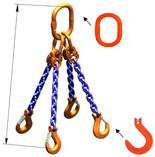 33948304 Zawiesie łańcuchowe czterocięgnowe klasy 10 miproSling KFW 14,0/10,0 (długość łańcucha: 1m, udźwig: 10-14 T, średnica łańcucha: 13 mm, wymiary ogniwa: 200x110 mm)