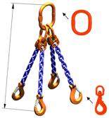 33948308 Zawiesie łańcuchowe czterocięgnowe klasy 10 miproSling WLHW 3,0/2,12 (długość łańcucha: 1m, udźwig: 2,12-3 T, średnica łańcucha: 6 mm, wymiary ogniwa: 135x75 mm)