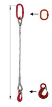 33948336 Zawiesie linowe jednocięgnowe miproSling HE 14,00 (długość liny: 1m, udźwig: 14 T, średnica liny: 36 mm, wymiary ogniwa: 275x150 mm)