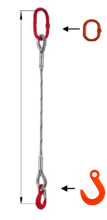 33948342 Zawiesie linowe jednocięgnowe miproSling FW 11,00 (długość liny: 1m, udźwig: 11 T, średnica liny: 32 mm, wymiary ogniwa: 230x130 mm)