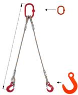 33948378 Zawiesie linowe dwucięgnowe miproSling FW 23,5/17,0 (długość liny: 1m, udźwig: 17-23,5 T, średnica liny: 40 mm, wymiary ogniwa: 340x180 mm)