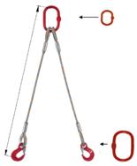 33948389 Zawiesie linowe dwucięgnowe miproSling T 29,0/21,0 (długość liny: 1m, udźwig: 21-29 T, średnica liny: 44 mm, wymiary ogniwa: 340x180 mm)