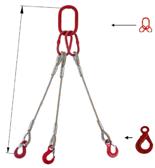 33948431 Zawiesie linowe trzycięgnowe miproSling LE 15,0/11,0 (długość liny: 1m, udźwig: 11-15 T, średnica liny: 26 mm, wymiary ogniwa: 230x130 mm)