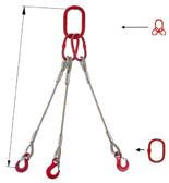 33948441 Zawiesie linowe trzycięgnowe miproSling T 52,0/37,0 (długość liny: 1m, udźwig: 37-52 T, średnica liny: 48 mm, wymiary ogniwa: 400x200 mm)