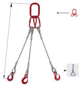 33948455 Zawiesie linowe trzycięgnowe miproSling FK 44,0/31,5 (długość liny: 1m, udźwig: 31,5-44 T, średnica liny: 44 mm, wymiary ogniwa: 350x190 mm)