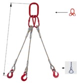 33948458 Zawiesie linowe trzycięgnowe miproSling FK 71,0/50,0 (długość liny: 1m, udźwig: 50-71 T, średnica liny: 56 mm, wymiary ogniwa: 460x250 mm)