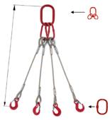 33948501 Zawiesie linowe czterocięgnowe miproSling T 62,0/44,0 (długość liny: 1m, udźwig: 44-62 T, średnica liny: 52 mm, wymiary ogniwa: 460x250 mm)
