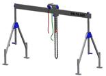33959997 Wciągarka bramowa aluminiowa z wózkiem pchanym i wciągnikiem łańcuchowym miproCrane DELTA 400M (udźwig: 1000 kg, szerokość: 7100 mm, wysokość: 1640/2740 mm)