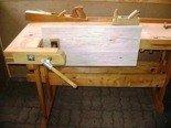 77156913 Stół stolarski z drewna (wymiary: 750-520x1960x910 mm)
