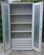 77157256 Szafa narzędziowa, przeszklona, 3 półki, 3 szuflady (wymiary: 2000x1000x500 mm)