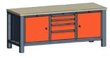 99551561 Stół trójka, stelaż z blatem, 2 drzwi, 4 szuflady (wymiary: 850-900x2000x700 mm)