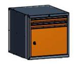 99551586 Szafka typ T, 1 drzwi, 2 szuflady 75+75 (wymiary: 625x600x690 mm)