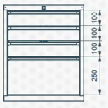 99551629 Szafka typ G, 4 szuflady (wymiary: 625x520x550 mm)