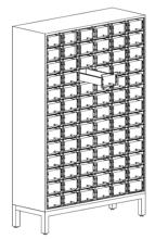 99551808 Szafka katalogowa ze stali nierdzewnej, 78 skrytek (wymiary: 1635x1080x390 mm)