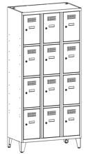 99552055 Szafka ze schowkami 0,5mm na nóżkach, 12 drzwi (wymiary: 1940x1200x500 mm)