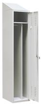 99552176 Szafka ubraniowa ze skośnym daszkiem 0,8mm, zamek na kłódkę, 1 drzwi (wymiary: 2000x300x490 mm)