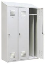99552185 Szafka ubraniowa 0,8mm ze skośnym daszkiem, zamek ryglujący drzwi w 3 punktach, 3 drzwi (wymiary: 2000x900x490 mm)