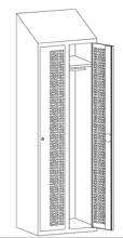 99552213 Szafka ubraniowa perforowana ze skośnym daszkiem, zamek ryglujący drzwi w 3 punktach, 2 drzwi (wymiary: 2000x600x490 mm)