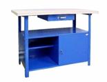 99552438 Stół warsztatowy, 1 szuflada, 1 drzwi (wymiary: 850x1200x600 mm)