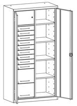 99552499 Szafa warsztatowa, 4 półki, 11 szuflad (wymiary: 1950x1200x500 mm)