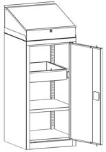 99552528 Szafa warsztatowa, 1 półka, 1 szuflada, 1 drzwi (wymiary: 1255x500x500 mm)