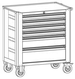 99552534 Wózek warsztatowy, 6 szuflad (wymiary: 900x790x490 mm)