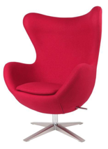 99851004 Fotel Jajo inspirowany Egg szeroki tkanina (kolor: czerwony)