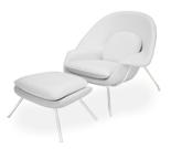 99851062 Fotel Snug z podnóżkiem inspirowany Womb (kolor: biały)
