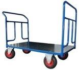 DOSTAWA GRATIS! 13340617 Wózek platformowy ręczny dwuburtowy 2BKB (koła: pneumatyczne 225 mm, nośność: 250 kg, wymiary: 1200x700 mm)