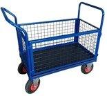 DOSTAWA GRATIS! 13340621 Wózek platformowy ręczny osiatkowany OS (koła: pneumatyczne 225 mm, nośność: 250 kg, wymiary: 1000x600x450 mm)