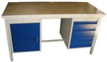 DOSTAWA GRATIS! 13340633 Stół warsztatowy z jedną szafką uchylną i jedną czteroszufladową SW (wymiary: 1300x700x850 mm)