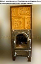 DOSTAWA GRATIS! 92238186 Piec grzewczy kaflowy 9kW Retro czterowarstwowy z szybą na drewno i węgiel (kolor: brąz, wysokość: 100cm)