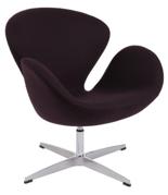 DOSTAWA GRATIS! 99851021 Fotel Cup inspirowany projektem Swan kaszmir (kolor: ciemnobrązowy)