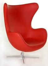 DOSTAWA GRATIS! 99851041 Fotel Jajo inspirowany Egg skóra (kolor: czerwony)
