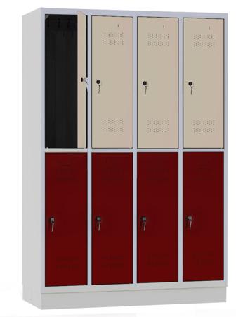 00141851 Szafa szkolna, 4 segmenty, 8 drzwi (wymiary: 1800x1190x480 mm)